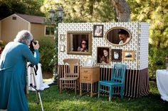 This photobooth would be great for a family reunion! Diy Photo Booth, Wedding Photo Booth, Photo Booth Backdrop, Wedding Photos, Photo Booths, Wedding Chair Decorations, Wedding Chairs, Family Reunion Photos, Family Reunions