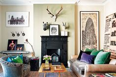 fabulously gorgeous living room with green and velvet cushions
