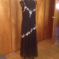 Beautiful Summer gown Beautiful summer gown with beige flowers and lightly sequenced. R & M Richards Dresses Maxi