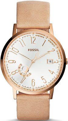Women's Fossil Vintage Muse Beige Leather Strap Watch ES3751