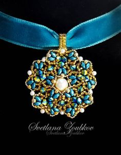 Beadwork Pendant Design Idea #svetlanagallery #pendant #beadwork #bead #beading #beadweaving