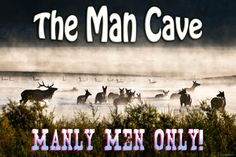 Man Cave Sign - Manly Men Only-pink, ON SALE!, Metal Ready-to-Hang Print, best selling items, elk, hunters, men, Cyber Monday sale!!, Deal!  by PicturesFromHeaven