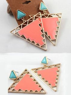 #Salmon #Hollow #Triangle #Stud #Earrings