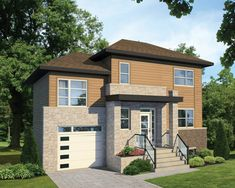Two-storey house - 28334 Two Storey House, Surface Habitable, Porche, Garage Doors, Villa, Exterior, House Design, Mansions, House Styles