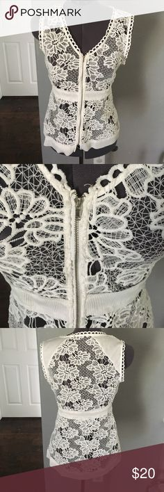 BKE lace zip up shirt/vest BKE white lace with zipper BKE Tops