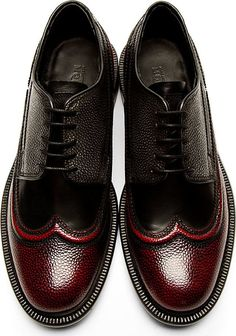 Men's shoes | Alexander Mcqueen: Burgundy Black Piped Austerity Brogues Raddestlooks On The Internet http://www.raddestlooks.net