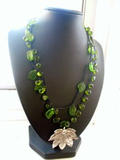 Green Gardens Crochet Necklace by FleasKnees on Etsy, $20.00