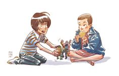"""""""Stranger Things doodle! Mike and Eleven play with Ninja Turtles."""""""