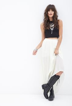 FOREVER 21 Pleated Chiffon Maxi Skirt