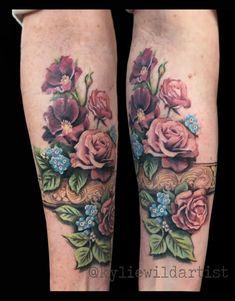Vintage Style Flowers with Bangle forearm tattoo by Kylie Wild Heslop, Canberra, Australia www.artgonewild.com.au