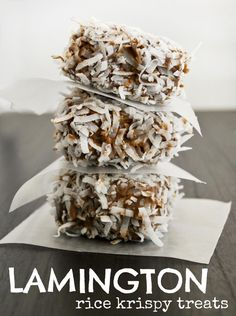 Lamington Rice Krispy Treats - (cake mix is mixed into the rice krispy treat and then it's coated in melted chocolate and shredded coconut)