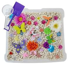 Our fun sensory Butterfly Garden Discovery Box will introduce kids to a magical world of colorful butterflies, sparkling gems and crystals, and fun silk flowers. Preschoolers and young children will e
