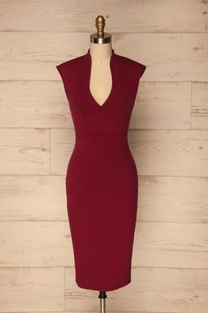 Arbeca Bourgogne Burgundy Fitted Cocktail Dress | La Petite Garçonne