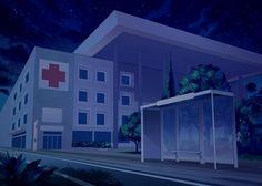 Hospital, de noche Episode Interactive Backgrounds, Episode Backgrounds, Anime Backgrounds Wallpapers, Anime Scenery Wallpaper, Scenery Background, Cartoon Background, Night Background, Animation Background, 2d Game Background