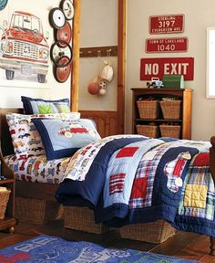 love this vintage/country vehicle theme for Harry's room