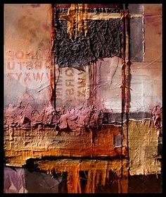 Headlines, 12016 by Carol Nelson mixed media ~ 30 x 24, (Several types of papers were used, from Japanese rice paper to Egyptian papyrus. Colors kept muted because Texture was the focus.)