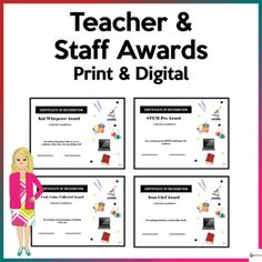 These fun teacher and staff awards are a great way to recognize, affirm, and acknowledge their talents, skills, and capabilities. These could be given throughout the school year. It could also be given during faculty development and departmental meetings. Blank templates are also provided if you wan...
