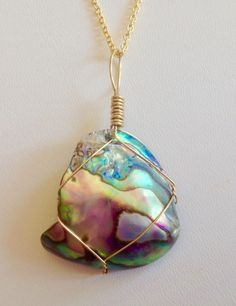 Fragile wrapped Abalone shell pendant by TROPICALNecklaces on Etsy