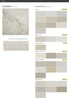 Taj Mahal. Quartzite. Natural Stone. Arizona Tile. Behr. PPG Paints. Benjamin Moore. Ralph Lauren Paint. Sherwin Williams. Valspar Paint.  Click the gray Visit button to see the matching paint names.