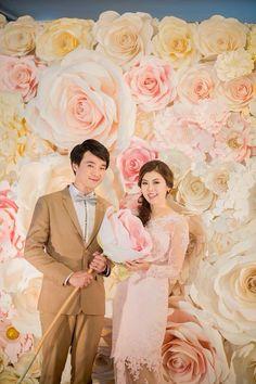 wedding paper flowers backdrop