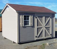 B-STD2-1012-620 10x12 Lap Panel sided gable with double doors on side and Painted