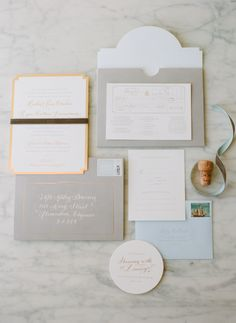 Herringbone, greige, gold, and blue custom invitation suite | SIMPLESONG design, Molly Jacques, Abby Jiu