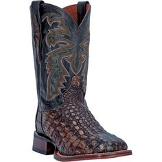 """These Dan Post Cowboy Certified mens caiman skin cowboy boots feature a 11"""" shaft, broad square toe, and flex insole. Using only premium materials, these handcr"""