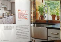 Beautifully featured in Better Homes and Gardens Kitchen + Bath Ideas magazine, summer 2013.  Love that Elkay Arezzo faucet!