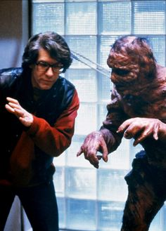 David Cronenberg on the set of The Fly