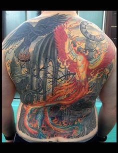 Phoenix Tattoo, Back Piece Tattoo, Raven Tattoo, Berlin Tattoo Artists