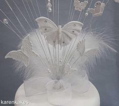 BUTTERFLY WEDDING/ENGAGEMENT CAKE TOPPER WITH DIAMANTÉ CHAIN & RIBBON | eBay