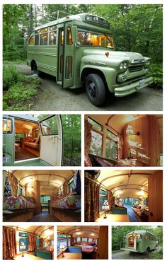 Bus turned into Camper School Bus Camper, School Bus House, School Bus Conversion, Camper Conversion, Vw Camping, Converted Bus, Bus Living, Rv Truck, Short Bus
