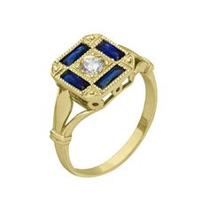 Antique Baguette Sapphire Diamond Engagement Ring in 18k Yellow Gold