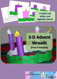 More free printable Advent calendars kids, including preschoolers and toddlers, can enjoy making - Printable Advent Wreath - Catholic Advent Wreath, 2 Advent, Advent For Kids, Advent Calendars For Kids, Catholic Crafts, Kids Calendar, Church Crafts, Crafts For Kids, Advent Wreaths
