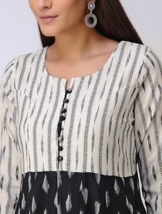 Ivory-Black Ikat Cotton Kurta Neck Designs For Suits, Neckline Designs, Dress Neck Designs, Designs For Dresses, Blouse Designs, Churidar Neck Designs, Kurta Neck Design, Salwar Designs, Kurti Designs Party Wear