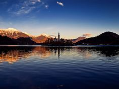 sunset Lake Bled, What A Wonderful World, Wonders Of The World, Opera House, Mountains, Sunset, Explore, Building, Places
