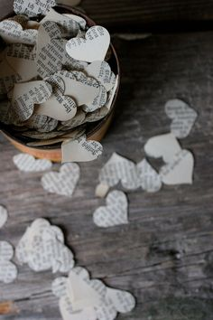 Wedding Confetti Decoration for Vintage or Literary Wedding Hearts. Good to throw, or have on table. We could also throw flower petals or do bubbles. Oh my word, remember throwing rice? Wedding Tags, Post Wedding, Diy Wedding, Dream Wedding, Table Wedding, Wedding Ideas, Decoration Birthday, Decoration Table, Flower Decoration