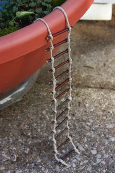 Ladder to hang over the edge of fairy garden.. <3 !!!