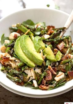 Chicken Bacon Asparagus Avocado Salad