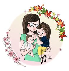 Art Drawings For Kids, Cute Drawings, Infant Loss Awareness, Pregnancy And Infant Loss, Family Drawing, Angels In Heaven, Rainbow Birthday, Cartoon Art, Caricature