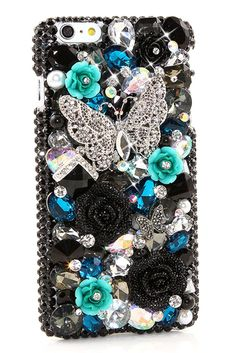 Black and Turquoise Butterfly Bling iPhone 6s Plus case cover accessories