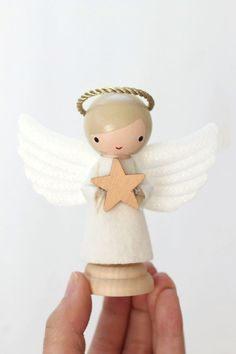 angel clothespin doll (nativity set add-on) by LeftonLynnaLane Christmas Nativity, Diy Christmas Ornaments, Christmas Angels, Xmas, Wood Peg Dolls, Clothespin Dolls, Angel Crafts, Clothes Pegs, Wooden Pegs