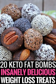 Keto Diet Fat Bombs Fat bombs are a perfect energy boosting ketogenic diet treats! Low carb snacking is a must for weight loss on the keto diet! These 20 low carb snack recipes make it easy! Using ingredients like cream cheeses, peanut butter, chocolate, coconut oil, cookie dough, honey, lemon, stevia and almond butter weight loss tastes fantastic! Dairy and sugar-free recipes are full of flavor! #keto #ketogenic #ketodiet #ketorecipes #ketosnacks #fatbomb #weightloss