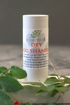 Lavender and Oatmeal Dry Dog Shampoo - A unique formula, designed to cleanse pet's skin and hair by gently lifting away and neutralizing oils and dirt. Keep dogs fresh between baths. No water necessary!  Perfect for pets who don't enjoy water baths or for an easy in-between bath time cleansing. essential8 dry shampoo combines soothing, deodorizing, and cleansing ingredients into an easy to use and convenient shaker shampoo. All ingredients are food-safe and gluten-free!