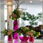 Corporate arrangements in pink hues