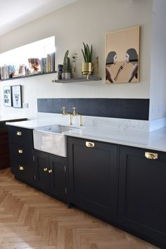 An Essex Before And After Kitchen Tour On Design*Sponge Black Kitchen Cabinets, Narrow Kitchen, Kitchen Cabinet Design, Open Plan Kitchen, Black Kitchens, Kitchen Layout, Kitchen Dining, Rustic Kitchen, Dining Room