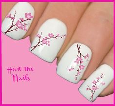 Cute Nail Designs For Spring – Your Beautiful Nails Flower Nail Designs, Flower Nail Art, Nail Designs Spring, Cute Nail Designs, Nail Flowers, Simple Nail Art Designs, Cherry Blossom Nails, Pink Blossom, Spring Nail Art