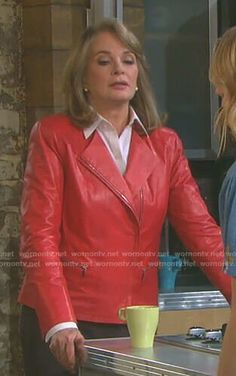 Marlena's red front zip leather jacket on Days of our Lives Deidre Hall, Red Leather, Leather Jacket, Days Of Our Lives, Lafayette 148, Evans Fashion, Zip, Jackets, Outfits