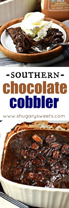 This classic, southern Chocolate Cobbler recipe has a rich, fudgy sauce topped with a decadent brownie-like topping! ~ Shugary Sweets