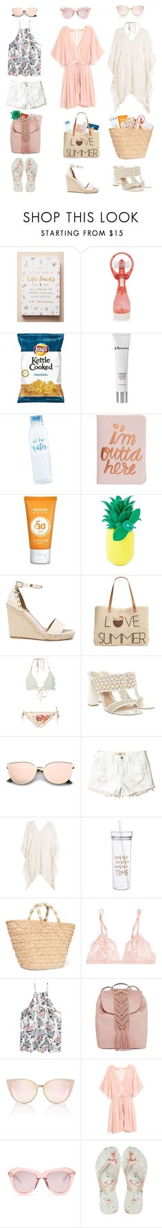 """""""Vacation series: Poolside/Beach Capsule."""" by krys-imvu ❤ liked on Polyvore featuring Anthropologie, Sunnylife, Elemis, ban.do, Valentino, Style & Co., Zimmermann, Alexander McQueen, Hollister Co. and Eberjey"""